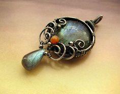 Labradorite Wire Wrapped Sterling Silver Pendant - Rita Moeler