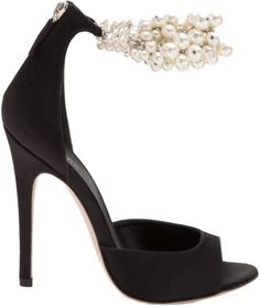 Giambattista Valli Black Embellished Ankle Strap Sandal €1,086 Spring 2014 #Shoes #Heels