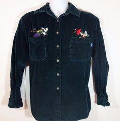 Disney Mickey Mouse Goofy Women's Black Corduroy Button Down Shirt Size M