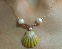 Hawaii Sunrise Shell Kahelelani Shell and White Pearl Necklace | eBay