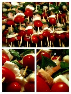 caprese salad skewers -- a great appetizer: tomato, fresh mozzarella, shrimp (and/or scallop), fresh basil, seasoned with sea salt and pepper, marinated with Italian dressing.