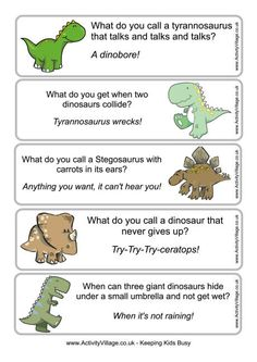The kids will love these dinosaur bookmarks complete with dinosaur jokes - just perfect for encouraging some reading! Some dinosaur joke bookmarks ready for use! Funny Riddles, Jokes And Riddles, Funny Jokes For Kids, Science Jokes, Dad Jokes, Funny Memes, Dinosaurs Preschool, Dinosaur Activities, Activities For Kids