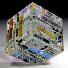 """Ray Lapsys paperweight - Dichroic cube. 2013, 2 1/2"""" x 2 1/2"""", 18.2oz."""