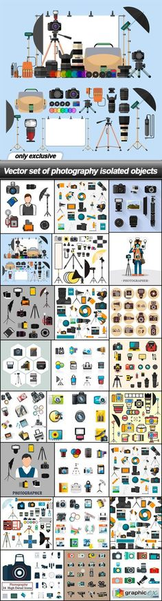 Set of photography isolated objects - 24 EPS