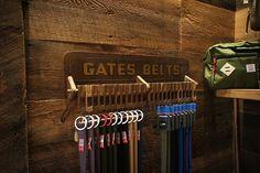 Repurposed belt rack Old Souls, Cold Spring NY 10516.