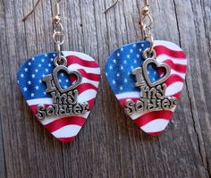 I Love My Soldier Guitar Pick Earrings Pick Your by ItsYourPick