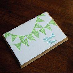 Thank You Bunting Letterpress folded cards Set by paisleytreepress, $15.00