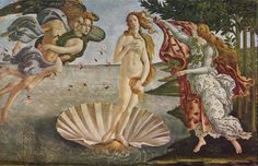 """Sandro Boticelli - """"The Birth of Venus"""", c. 1469, one of the finest Renaissance painters, sculptors, and one who was influenced by Fra Savanarola, one wonders how many of the Boticelli masterpieces went into the Bonfire of the Vanities.  I have seen this painting in the Uffizi Gallery, Florence."""