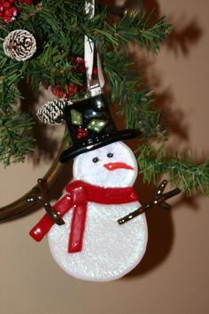 Glass Snowman Ornament. $18.00, via Etsy.