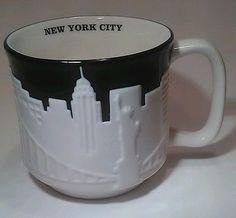 2010 Starbucks New York City Relief Coffee Cup Mug Taxi Skyline Bone China 18 oz