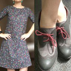 Esme dress by Lotta Jansdotter in Koi fabric by Rashida Coleman Hale.  Oxfords from J-41.