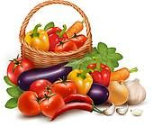 Fresh Vegetables Clip Art | Basket food illustrations and clipart