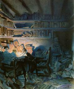 """Don Quijote in his library"" Jose Segrelles."