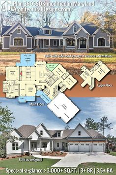 Architectural Designs Craftsman House Plan 36055DK built in Maryland with a side-load garage and in reverse orientation! | 3+ BR | 3.5+ BA | 3,000+ Sq.Ft. PLUS an optional Bonus and/or lower level |  Ready when you are. Where do YOU want to build? #36055DK #adhouseplans #
