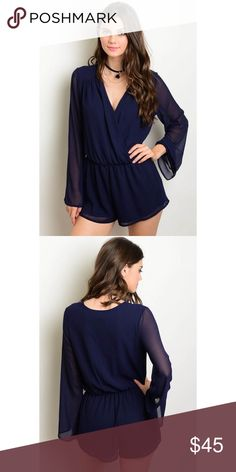 New small navy blue Romper with sheer sleeves 100% polyester. Made in the USA Pants Jumpsuits & Rompers