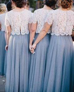 Hochzeit Skylar Skirt in Tulle Bridesmaid Separates Two Piece Bridesmaid Dresses, Tulle Skirt Bridesmaid, Bridesmaid Separates, Lace Bridesmaids, Bridesmaid Outfit, Bridesmaid Gowns, Tulle Skirt Wedding Dress, Bridesmaid Ideas, Dream Dress