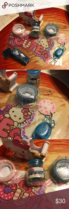 Hello kitty Bundle Hello big kitty bundle includes hello kitty tape dispenser, two rolls of tape from other Sanrio characters, two large stickers, One container with mini erasers and one container with one small hello kitty eraser, And one mini blue stapler with refillable mini blue staples Hello Kitty Other