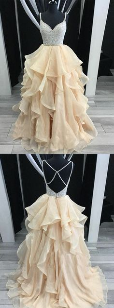 Simple Prom Dresses, unique champagne tulle sequin long prom dress champagne evening dress , From petite prom dress styles to plus size prom dresses, short dress to long dresses and more,all of the 2020 prom dresses styles you could possibly want! Pageant Dresses For Teens, Prom Dresses 2018, Cheap Prom Dresses, Formal Dresses, Formal Prom, Backless Homecoming Dresses, Grad Dresses, Elegant Bridesmaid Dresses, Simple Prom Dress