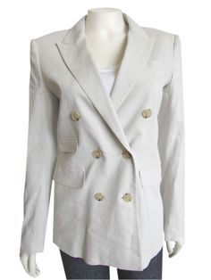 The perfect Theory double breasted blazer done in a bone colored stretch linen! Jacket features classic styling with a slim fit, double breasted front, v'd neckline, four front pockets, long sleeves, and four button cuffs. Polished to perfection with a full lining and double back vent... A classy contender for your spring / summer capsule wardrobe, or work outfit ideas board! #Theory #Brand #Clothing #sale #jacket #blazer