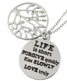 """Inspirational Silver Tone Tree of Life """"Life is Short Forgive Quickly Kiss Slowly Love Truly"""" Necklace Gift, http://www.amazon.com/dp/B00NY0MVPA/ref=cm_sw_r_pi_awdm_mx8Gvb167DSZG"""