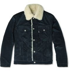 Maison Kitsuné Faux Shearling-Trimmed Corduroy Jacket | MR PORTER
