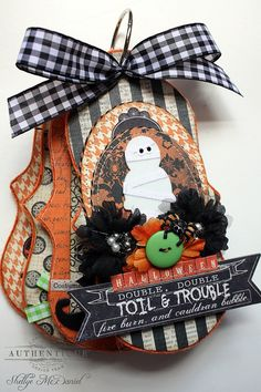 Halloween TOIL and TROULBE Scroll Shaped Mini by dotandwhimsy, $35.00