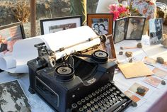 Great alternative for the guest book. .. everyone writes a little something on an old type writer!