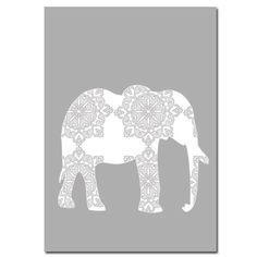 Damask Elephant  in grey - Fine Art Print, Nursery, wall decor,  jungle, animal, illustration, nursery decorating ideas