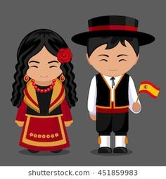Spanish in national dress with a flag. Boy and girl in traditional costume. Travel to Spain. People. Vector flat illustration.
