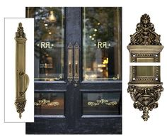 """Get the look - Ornate reproduction """"Bramante"""" entry handles on the new Ralph Lauren Store in Soho - find them at House of Antique Hardware: http://www.houseofantiquehardware.com/antique-brass-pulls-bramante-abh    Storefront photo re-pinned from http://pinterest.com/pin/248401735668826179/"""