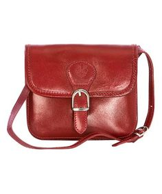 Loving this Red Buckle-Accent Leather Crossbody Bag on #zulily! #zulilyfinds