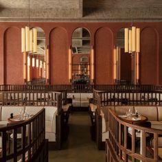 Architecture Design, Architecture Restaurant, Back Bar Design, Modern Restaurant Design, Restaurant Booth, French Restaurants, Restaurant Furniture, Hospitality Design, Cafe Interior