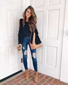 40 Classy Fall Outfits To Copy ASAP 2019 Black Cold Shoulder Top Ripped Skinny Jeans The post 40 Classy Fall Outfits To Copy ASAP 2019 appeared first on Outfit Diy. Cute Fall Fashion, Autumn Fashion 2018, Look Fashion, Denim Fashion, Fashion Outfits, Womens Fashion, Fashion Trends, Fashion Black, Fashion Ideas