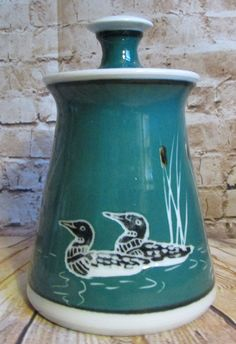 Georgetown Pottery Loon Cattails Green Canister Firelighter Maine Vintage 1994