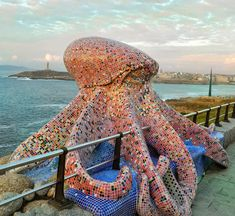 Mosaic Octopus Sculpture In Spain