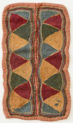 Tribal embroidery.Cotton, natural dye.Banjara tribe, Andhra Pradesh, India.Mid 20th century.
