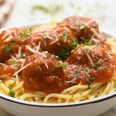 This easy meatball recipe is my all time favorite! Tender, juicy meatballs loaded with flavor and simmered in a homemade marinara sauce. Perfect for topping spaghetti noodles, or just enjoying as an appetizer. Spagetti And Meatball Recipe, Classic Meatball Recipe, Spagetti Recipe, Meatballs For Spaghetti, Spaghetti Marinara Recipe, Homemade Spaghetti Noodles, Best Italian Meatball Recipe, Baked Spaghetti, Beef Recipes