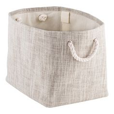 Sophisticated and stylish, our multifunctional Flax Bins are just right for throw pillows and blankets in the bedroom, or rolled towels in the bathroom. Handles on each end make carrying them convenient and comfortable. Easily inserted plastic stays fit in small pockets on the interior of the bins to add structure.
