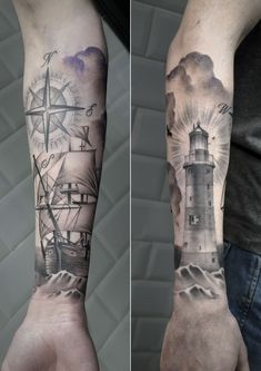 Image result for Lighthouse Tattoo full arm