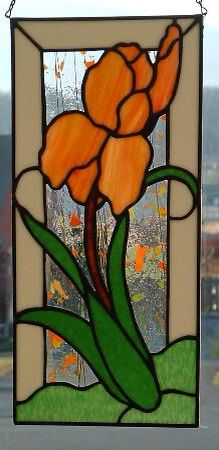 Iris with opaque border - Warner Stained Glass - Online Gallery Stained Glass Quilt, Stained Glass Flowers, Stained Glass Designs, Stained Glass Panels, Stained Glass Projects, Stained Glass Patterns, Mosaic Patterns, L'art Du Vitrail, Glass Wall Art