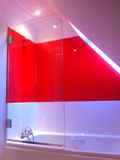 and a festive Bathroom Glass Splashback! Glass Splashbacks, Glass Furniture, Bathroom Plans, Glass Bathroom, Wall Cladding, Color Splash, Clear Glass, Festive, Stairs