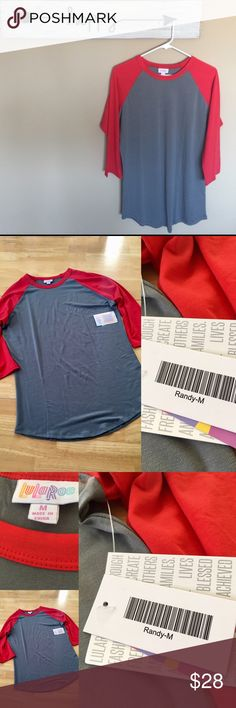 LuLaRoe- medium- Randy- gray with red trim- NWT New with tags- medium- LuLaRoe Randy- tshirt- gray with red trim- smoke free home- 96 polyester and 4% spandex - this is one of the heavier Randy T-shirts- listings is for shirt ONLY⭐️Price is FIRM⭐️ LuLaRoe Tops