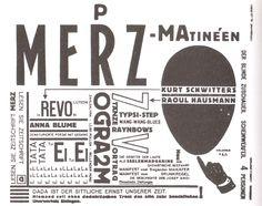 Kurt Schwitters, Raoul Hausmann, Programm der Merz-Matinéen,1919.