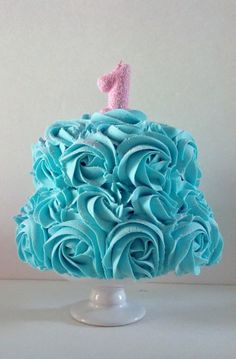 First Birthday Tiffany Blue Rosette Cake by FakeCupcakeCreations