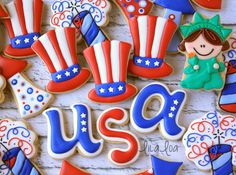 LilaLoa: How to Make Decorated Uncle Sam Hat Sugar Cookies Blue Cookies, Summer Cookies, Iced Cookies, Cut Out Cookies, Royal Icing Cookies, Holiday Cookies, Cupcake Cookies, Cookies Et Biscuits, Frosted Cookies