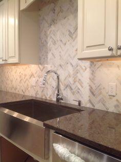 1 X 2 Polished Calacatta Gold Marble Herringbone Mosaic