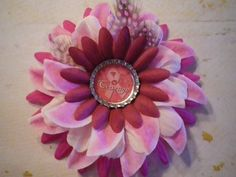 Pink Breast Cancer CourageBottle Cap Flower by SweetieBeads, $8.00