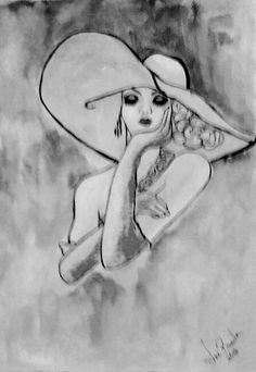 Digital Print Of A Lady In Floppy Hat, Black White Print Women, Portrait Lady With Hat, Vintage Lady, Lady Of The Fifties, UK Shops, Etsy UK Lady Lady, Etsy Uk, Uk Shop, Digital Prints, Vintage Ladies, Shops, Hat, Black And White, Portrait