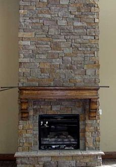 Stacked Stone Fireplace faux stone fireplace diy | diy stacked stone fireplace (first