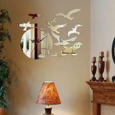 Reflections Birds Decorative Mirror Sticker Clock,Décor-Wall-Clocks